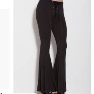 Black lace up bell bottoms soft corset tie flared